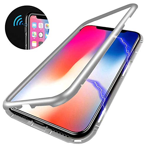 Magnetic Adsorption Phone Case Compatible with iPhone X ,[Anti-scratch] [Full Protection]Metal Frame Clear Tempered Glass Back Cover, Support Wireless Charge for iPhone X 5.8 [Clear white]