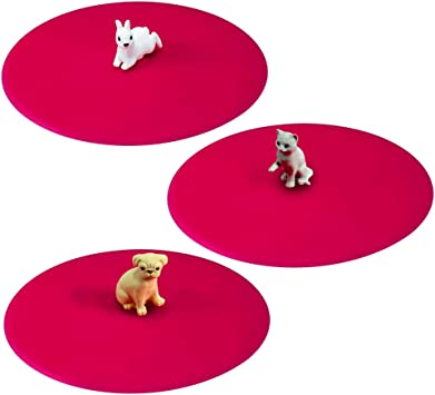 Imagen deLurch 210191 - Juego de Tapas de Silicona (3 Unidades), diseño de Mascotas, Color Rosa