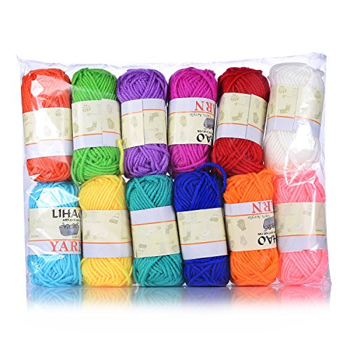 LIHAO 12x15g Strickwolle Handstrickgarn Häkelgarn Acryl für Doppelt Stricken Häkeln und Kunsthandwerk - 12 Farben