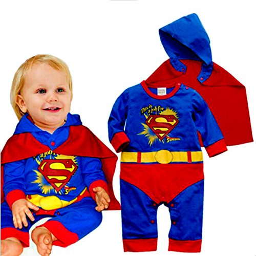 VogueFashion Baby Superhero Jumpsuit with Removable Cape (6-12 Months, -
