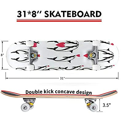 Classic Concave Skateboard Set of Decorative Black Dolphins with red Hearts for Valentine Day Longboard Maple Deck Extreme Sports and Outdoors Double Kick Trick for Beginners and Professionals : Sports & Outdoors