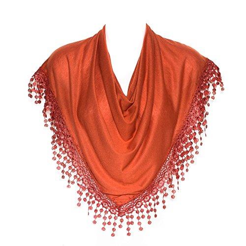 - Stylish Burnt Orange Triangle Bobbin Lace Fringed Ladies Womens Scarf Shawl Wrap