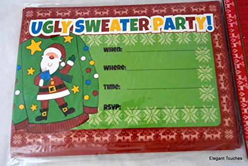 Ugly Sweater Party! 5x7 Single Panel Invitations with Envelopes, Set of 10