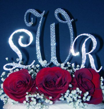 (3 Swarovski Crystal Monogram Wedding Cake Top Letters - 1 Large 2 Small)