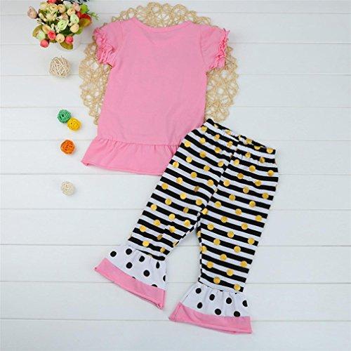 Vovotrade Für 2 bis 6 Jahre Altes Mädchen Kleinkind Kinder Baby Mädchen Letter Print Tops Shirt Streifen Hosen Outfits Set Kleide