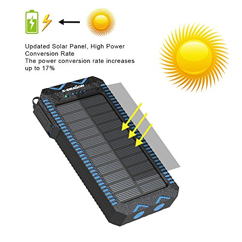Solar Charger X DRAGON Solar potential Bank having Cigarette Lighting 15000mAh lightweight Dustproof Shockproof double USB Solar Panel double superb bright LED light for iPhone Samsung Galaxy and far more Blue Solar Chargers