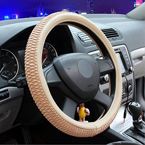- LYC Auto Accessories Car Steering Wheel Cover Mercerized Cotton Soft Four Seasons Universal, Beige, 38cm