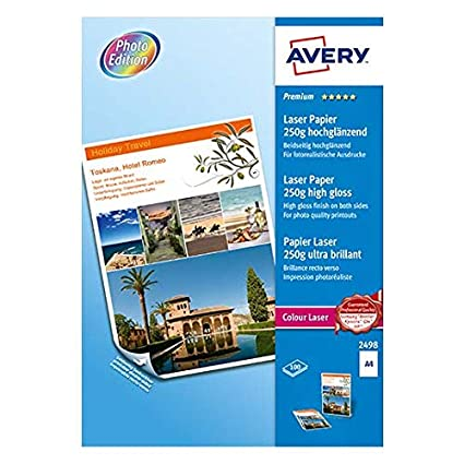 Avery Zweckform 2498 - Pack de 100 hojas de papel fotográfico para impresoras, 210 x 297 mm, color blanco