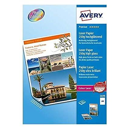 Avery Zweckform 2498 - Pack de 100 hojas de papel fotográfico para impresoras, 210 x 297 mm, color blanco