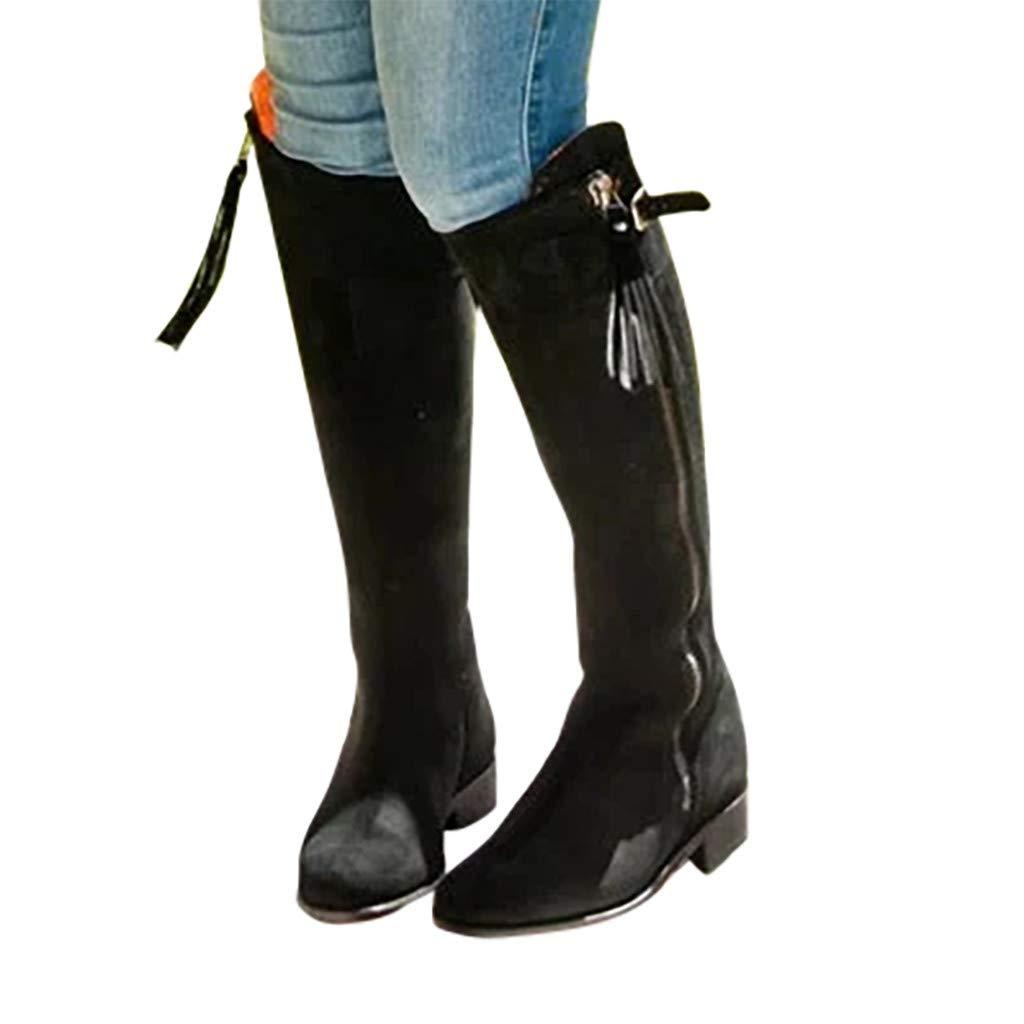 Yxiudeyyr Mid-Calf Boots,Women Round Toe Zipper Tassel Knee High Boots Warm Plus Size Knight Booties Office Dress Shoes(Black,38) by Yxiudeyyr