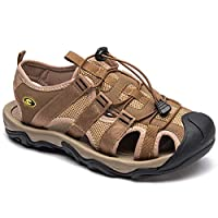 HOBIBEAR Men Outdoor Hiking Sandals Breathable Athletic Climbing Summer Beach Shoes Brown-c