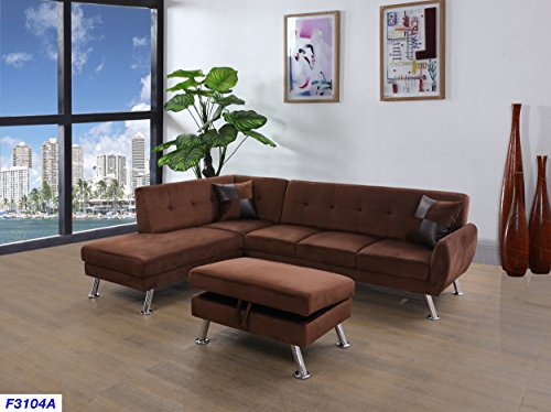 Beverly Fine Furniture SH3104A Sectional Sofa Chaise Set, Chocolate - Chaise Chrome Sectional