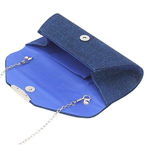 Trim Chain Bag Blue Ladies Envelope Shoulder Royal Silver Handbag Wiwsi Purse Evening Women Clutch 0x6WSvf