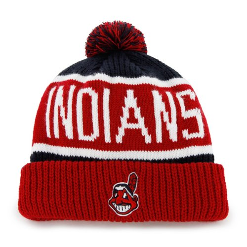 '47 MLB Cleveland Indians Calgary Cuff Knit Beanie with Pom, Navy, One Size