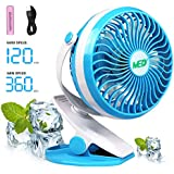 Baby Stroller Mini Battery Operated Clip Fan,Small Portable Fan Powered by Rechargeable Battery or USB Desk Personal Car Gym Workout Camping,Blue