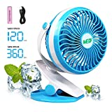 Image of Baby Stroller Mini Battery Operated Clip Fan,Small Portable Fan Powered by Rechargeable Battery or USB Desk Personal Car Gym Workout Camping,Blue
