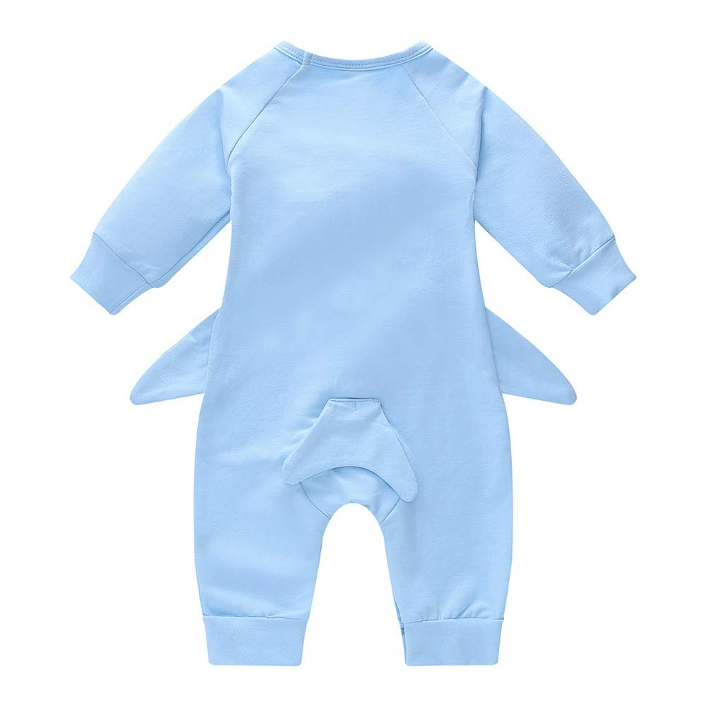WARMSHOP Newborn Toddler Lovely Shark Long Sleeve Cotton Romper Outfits Indoor and Outdoor Boys Girls Casual Playwear