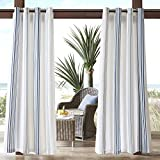N&T 1 Piece Navy Cabana Stripes Gazebo Curtain Panel 84 Inch, White Coastal Print Outdoor Curtain Light Filtering For Patio Porch, Water Resistant Outdoor Drapes Sunroom Grommet, Polyester