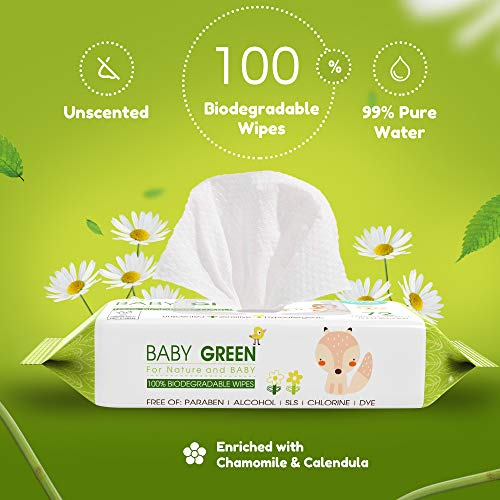 Baby Wipes Unscented compostable – Value Pack (12 Packs of 72) 864 for Sensitive Skin - Biodegradable and Organic