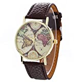 Zaidern Women Wrist Watch Womens Neutral Map Pattern Fashion Alloy Analog Quartz Classical Leather Watches Ladies Casual Simple Round Dial Leather Strap Belt Wristwatch Luxury Dress Watches Girls