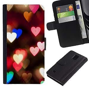 iKiki Tech / Cartera Funda Carcasa - Hearts Lights Pink Teal Night Blur Love - Samsung Galaxy Note 4 SM-N910F SM-N910K SM-N910C SM-N910W8 SM-N910U SM-N910