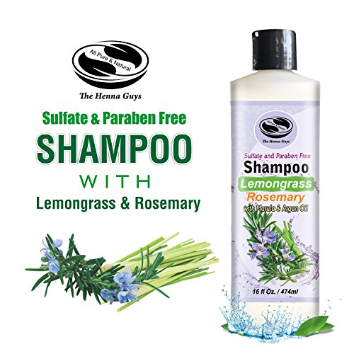 16 fl. Oz Lemongrass & Rosemary Shampoo - Sulfate free, Paraben free - Excellent Natural Daily use Natural Shampoo with Moisturzing Argan and Marula Oil - The Henna Guys