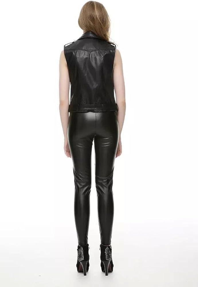 YOUJIA Womens Slim Lapel Faux Leather Vest Waistcoat Zip Up Classical Bomber Moto Jacket Sleeveless Belted Biker Jackets Black