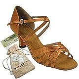 Women's Ballroom Dance Shoes Tango Wedding Salsa Dance Shoes Dark Tan Satin 1613EB Comfortable - Very Fine 2.5'' Heel 8.5 M US [Bundle of 5]