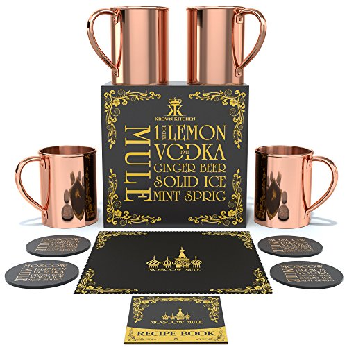Krown Kitchen - Moscow Mule Copper Mugs Set of 4 | 100% Solid Copper | 16 oz