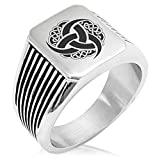 triskelion ring - Two-Tone Stainless Steel Triskelion Odin's Horn Knot Viking Engraved Needle Stripe Pattern Biker Style Polished Ring, Size 9