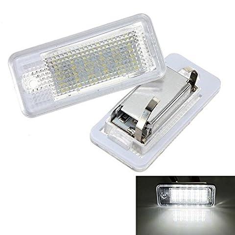 KATUR 2 x Error White 6000K 18 LED Car License Number Plate Light Lamp For Audi A3 S3 A4 S4 B6 B7 A6 S6 A8 - Audi A6 Light