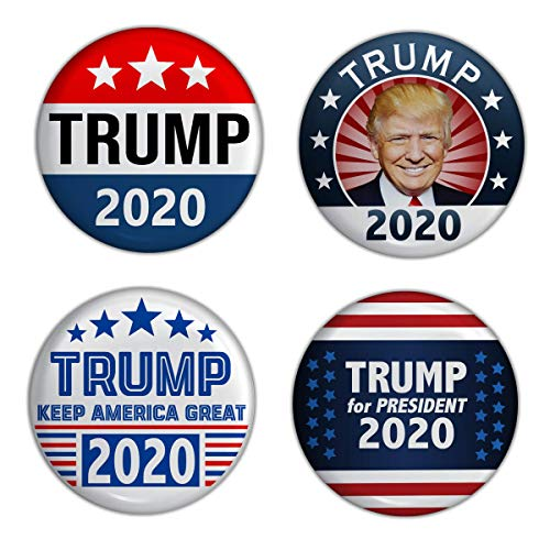 Elephield 2 1/4 inch President Trump 2020 Elections Campaign Support Pin Buttons Pack of 4, Set D