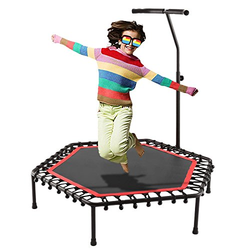 Leoneva 50 Inch Mini Trampoline Exercise Fitness Trampoline with Adjustable Handle Bar Fitness Rebounder Bungee-Rope-System Trainer for Kids&Adults - Maximum Load 220lbs