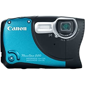 Canon PowerShot D20 12.1 MP CMOS Waterproof Digital Camera with 5x Image Stabilized Zoom 28mm Wide-Angle Lens a 3.0-Inch LCD and GPS Tracking