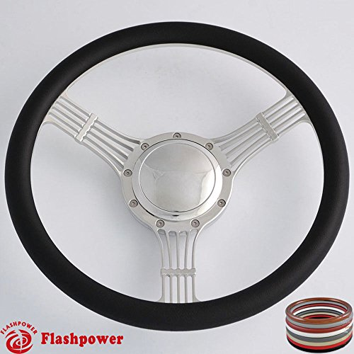 - Flashpower 14'' Billet Banjo Half Wrap 9 Bolts Steering Wheel with 2'' Dish and Horn Button (Black)