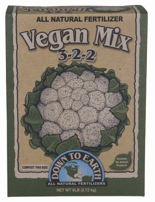Down To Earth All Natural Vegan Mix 3-2-2 Fertilizer - 6 lb