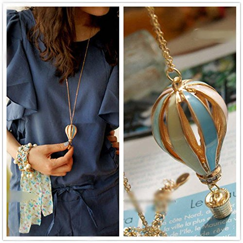 Stylish Fly Air Dream Colorful Hot Fire Balloon Pendant Sweater Chian Necklace (Air Hot Balloon)