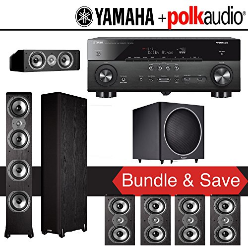 Polk Audio TSi 500 7.1-Ch Home Theater System with Yamaha AVENTAGE RX-A760BL 7.2-Ch Network AV Receiver by Polk Audio