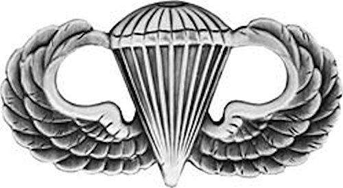 Basic Parachutist Badge – Silver Oxide Metal Insignia