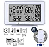 eMerit Desk Electronic Digital Weather Monitoring Alarm Clock in White, LCD Large Display, w/Indoor & Outdoor Temperature Wireless Sensor, Date, Week, Night Light, Battery Operated, Model AT2649