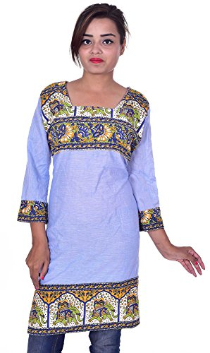 Indian-100-Cotton-Top-Kurta-Women-Ethnic-Tunic-Kurti-plus-size-Purple-Color-Animal-Print