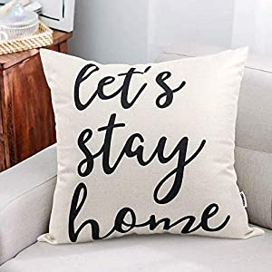 CDWERD Farmhouse Pillow Covers with Let's Stay Home Quotes 18×18 Inches Farmhouse Decor for New Home Housewarming Gifts