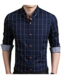 Men's 100% Cotton Long Sleeve Plaid Slim Fit Button Down Dress Shirt