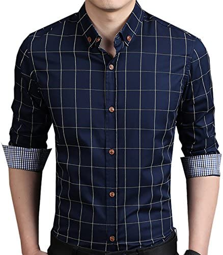 LOCALMODE Camisa de vestir al cuerpo con botones, con diseño a cuadros, con mangas largas, 100% algodón, para hombre