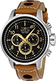 Invicta 23597 Men's S1 Rally Black Dial Light Brown Leather Strap Chronograph Watch