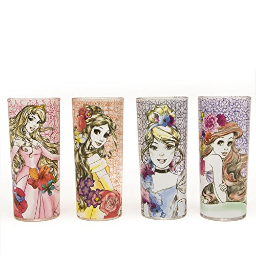 Silver Buffalo DP110661 Disney's Fashionista Princess Floral Tumbler Glass Set (4 Pack), Multicolor