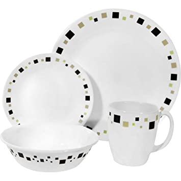 Corelle Livingware 16-Piece Dinnerware Set Geometric Service for 4  sc 1 st  Amazon.com & Amazon.com | Corelle Livingware 16-Piece Dinnerware Set Geometric ...