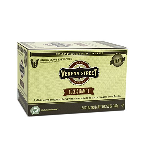 Verena Street Single Cup Pods (72 Count) Light Medium Roast Coffee, Lock & Dam 11, Rainforest Alliance Certified Arabica Coffee, Compatible with Keurig K-cup Brewers