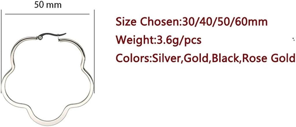 AMDXD Bijoux 316 Boucles DOreilles en Acier Inoxydable,Boucles DOreilles Creuses en Forme de Fleur Mignon pour Les Femmes 30//40 50MM