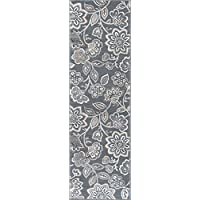 Emmalyn Transitional Floral Gray Runner Rug, 2 x 10